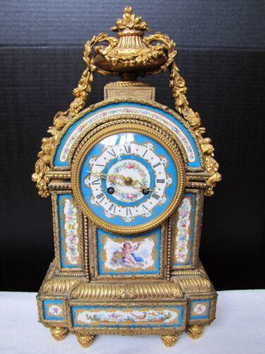 Antique French Goret A Paris gilt bronze porcelain mantel clock. Gorgeous Blue