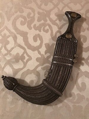 """Vintage RARE 1913 Middle Eastern Dagger. Measures 13""""x8"""" and 3"""" body width."""