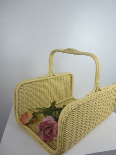 Antique Victorian 1920s Yellow Wicker/Wood Gathering Drying Basket Herbs Flowers