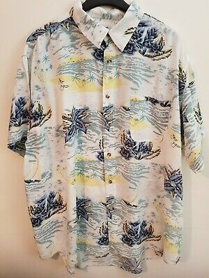 Vintage Blue And White Floral Hawaiian Shirt By Target Size XXXL