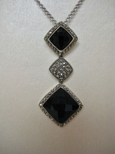 "Judith Jack Art Deco Black Onyx Marcasite Sterling Necklace & Drop Pendant 16"""