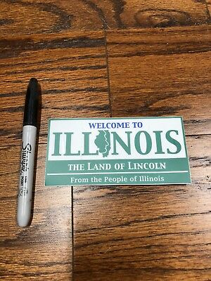 """ILLINOIS Welcome to ILLINOIS State Sign Vinyl Sticker Decal 5"""" x 2.53"""""""