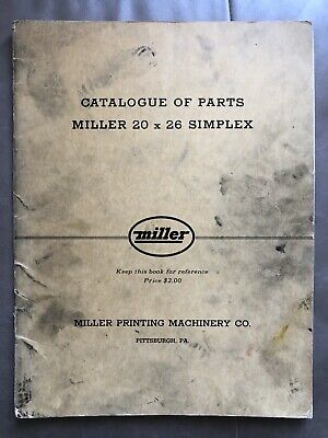 1948 Parts Catalog - Miller Printing Press 20x26 - Industrial Offset Letterpress
