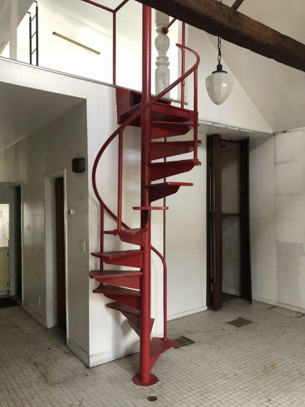 Vintage Iron Oak Spiral Staircase Antique Mid Century