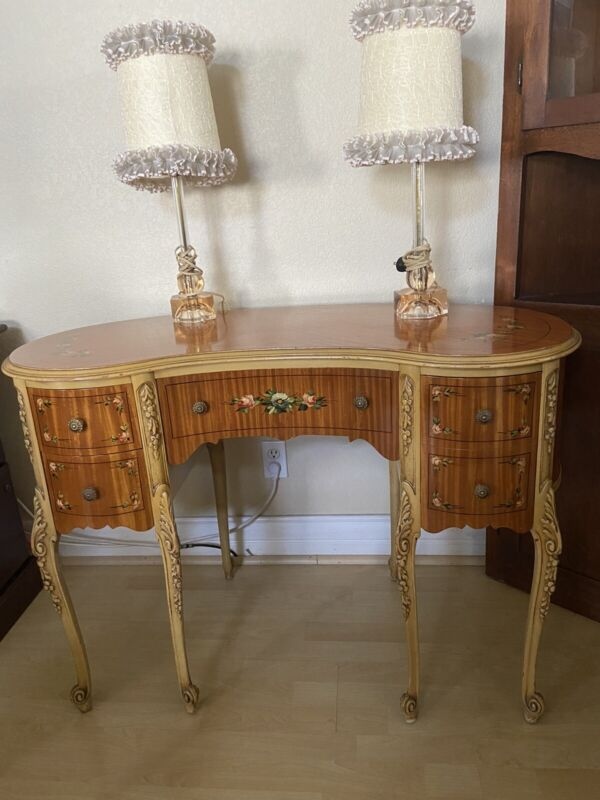 Vanity/Desk Hand Painted Antique w/Lamps and Chair