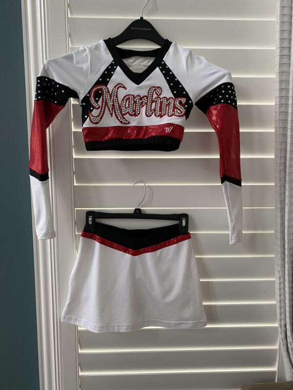 Cheerleading Team Uniforms - White, Red, Black, 5 Of These Are Available.