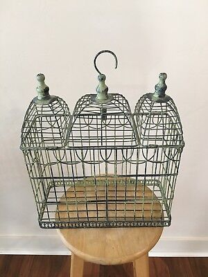 Antique Wrought Iron, Triple-domed Hanging Bird Cage