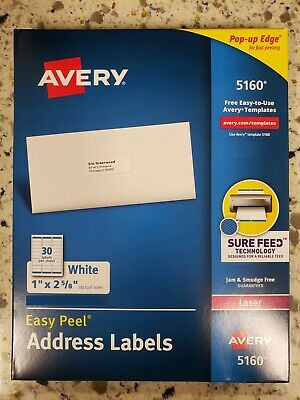 Avery 5160 Address Labels - 1 X 2 58 - 900 Total - 30 Sheets - Blank White