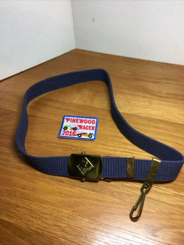 """CUB SCOUTS Boy Scouts BELT AND BUCKLE BLUE SOLID BRASS 30"""" LONG"""