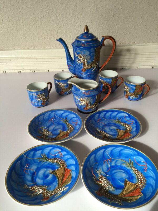 Cobalt Blue Lithophane DRAGON Porcelain Japan Tea Set 11pc Vintage Hand Painted