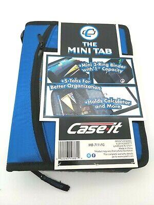 Case It Mini Tab 3 Ring Binder 1 Capacity W Zip Pocket 5 Tab Sections - Blue