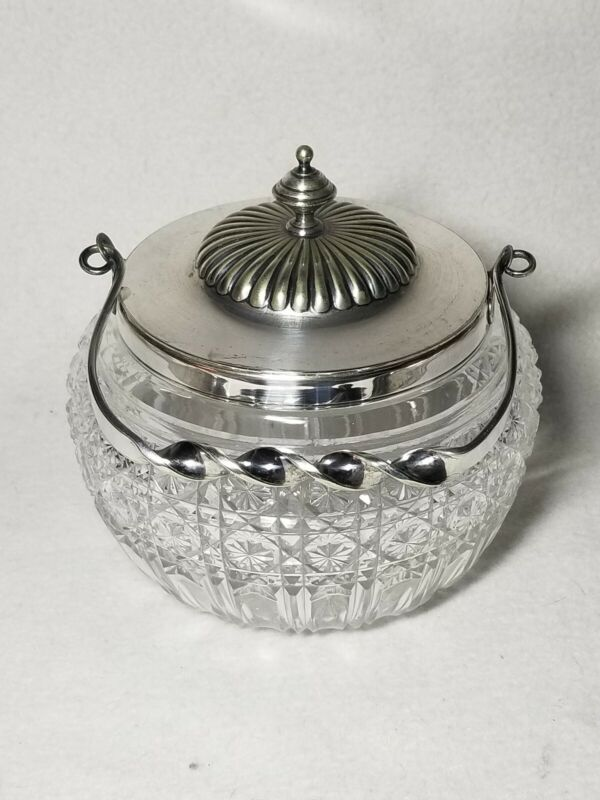 Antique English Silver Plate Cut Glass Crystal Biscuit Jar c.1890