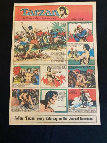 #52 TARZAN by Burne Hogarth Lot of 2 Sunday Tabloid Full Page Strips 1944
