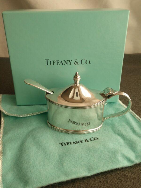 Vintage Tiffany & Co Sterling Silver Mustard Pot w/ Cobalt Glass Liner Spoon Box