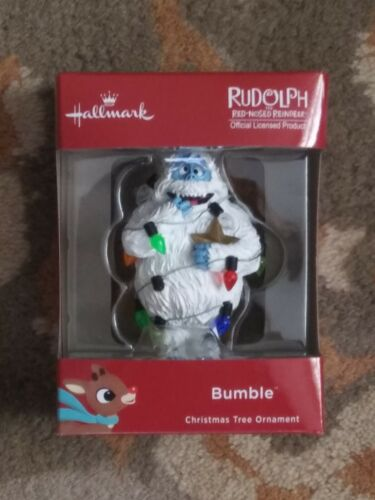 Hallmark Rudolph the Red Nosed Reindeer Bumble w Christmas Lights Ornament NEW