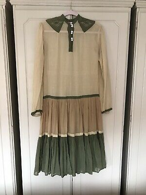 Vintage Phool Indian Cotton Midi Dress Tiered Prairie Smock Loose M 10