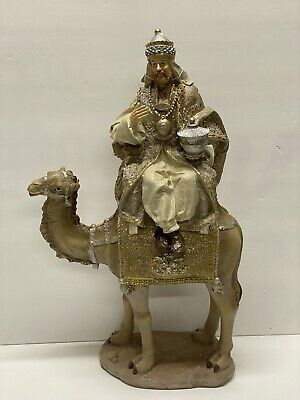 "RAZ Import 17.5"" Single Gold Wiseman King on Camel 3757938 Christmas NEW #1"