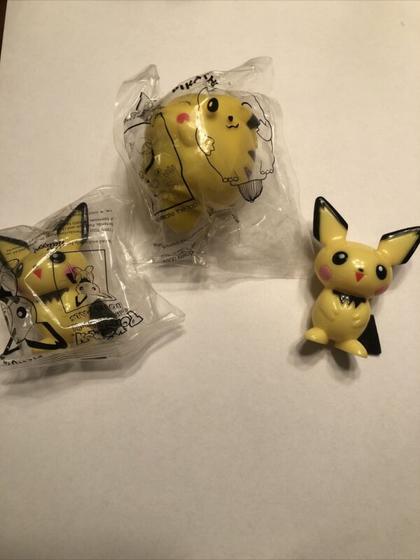 2000 Kelloggs Pokemon Cereal Toy | Pikachu Top And Pichu Bowl Pals LOT OF 3