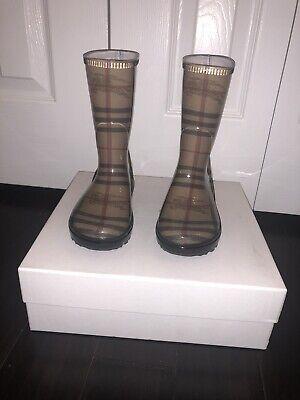 Burberry Kids Nova Check Rain Boots 29 30 11 12 NEW
