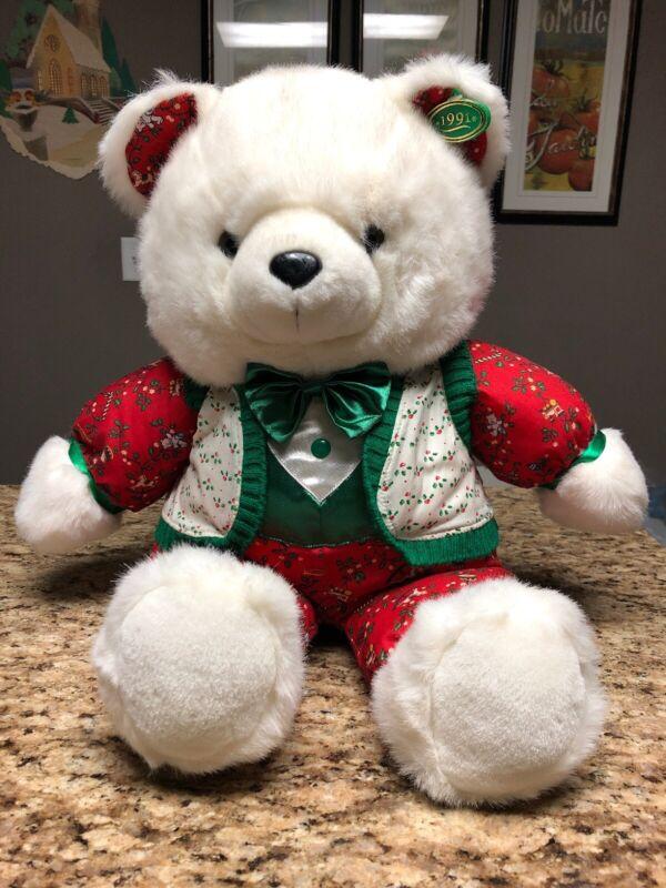 """1991 Kmart CHRISTMAS TEDDY BEAR 22"""" Red White Green Rare"""