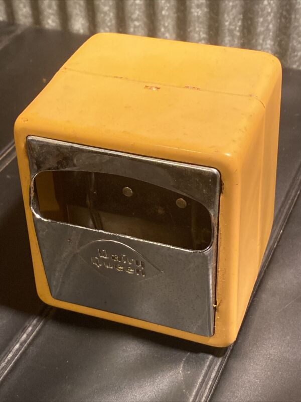 Vintage Double Sided Dairy Queen Napkin Dispenser Metal Yellow Restaurant