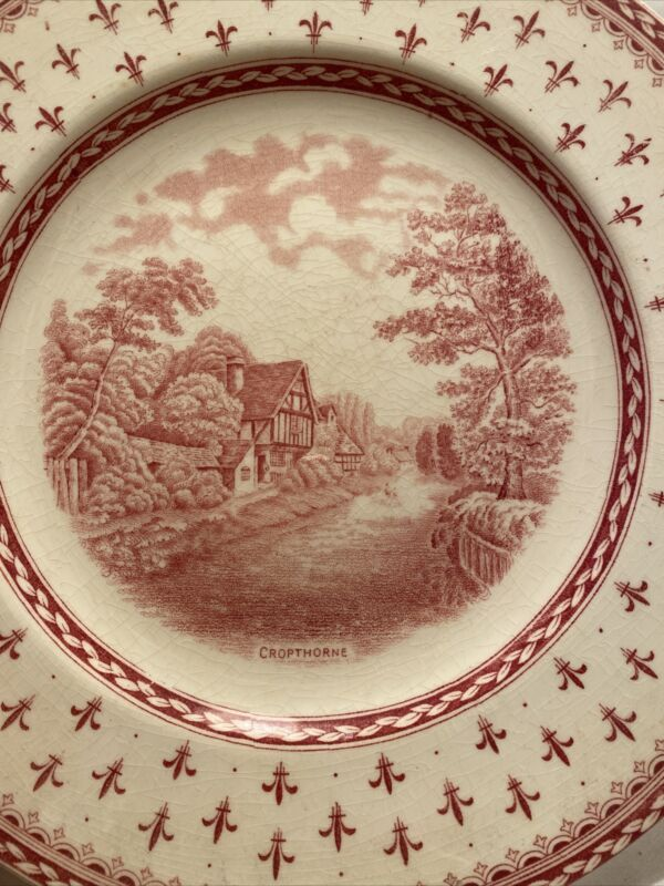 "Antique Vintage Crown Ducal Albion Red Transfer Ware Cropthorne 10"" Plate"