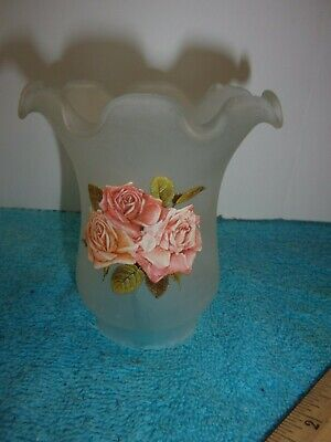 """Frosted Glass w/Pink Applique Flowers Ruffle Shade Ceiling Fan 1-7/8"""" Fitter"""