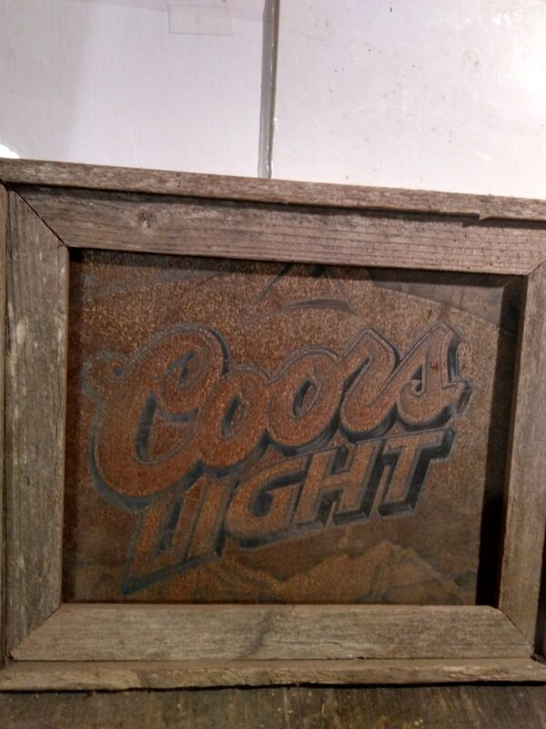 Old Rusty Coors Light Metal Sign  In Barnwood Frame