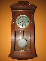 ANTIQUE GERMAN WALL REGULATOR CLOCK 8-DAY, TIME/STRIKE, KEY-WIND