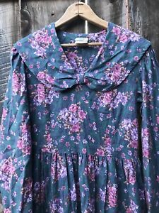 Laura Ashley Vintage 90s Dress Sailor Floral 80s Ireland Cotton Wool Blend
