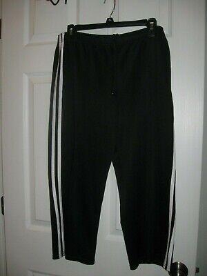 Athletic Works Ladies Black w/ White Stripes Athletic Capri Pants, Size L(12-14)