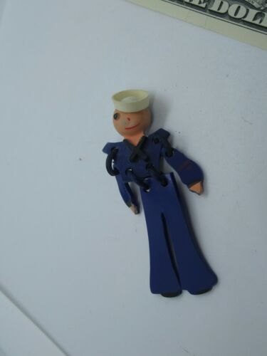 Celluloid Navy Man Sailor Pin Brooch Jewelry Military Vintage WWII  (478G)