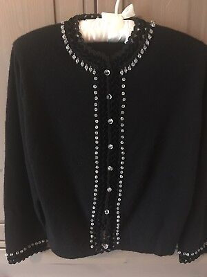 Vintage Drake 100% Cashmere Cardigan Sweater, Beaded Trim , Crystal Buttons for sale  Shipping to Canada
