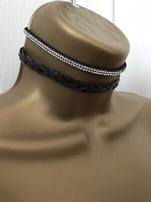 2 X Lipsy Chokers New In Box Diamanté & Black
