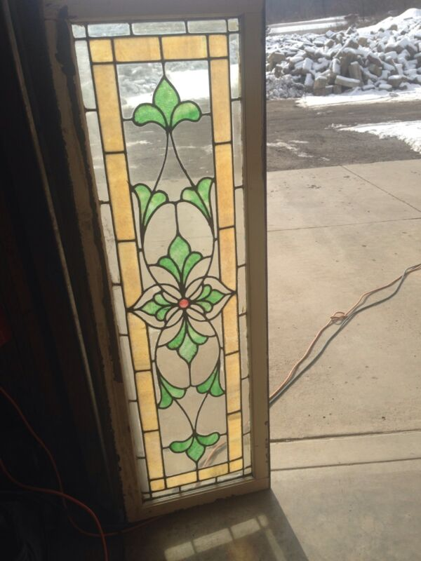Sg 51 Is A Long Antique Transom Stainglass Window With Flower Design