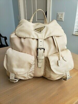 Authentic Prada Back Pack Beige Cream Nylon Leather Straps - Stains