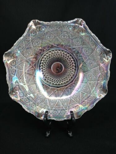 Carnival Glass Bowl Vintage L.E Smith Clear Iridescent Diamond Lace Ruffled Edge