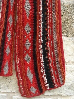 NWOT GUILLAUME de MONS France Artsy Wool & Alpaca Knit Scarf Red Black 10