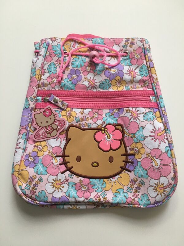 Hello Kitty Sanrio Hawaiian  Pink Zippers School Adjustable Straps Backpack Tan