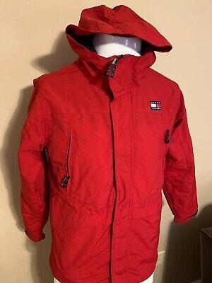 Vintage Tommy Hilfiger Hooded Spell Out Red Mens Mesh Lined Windbreaker Jacket L