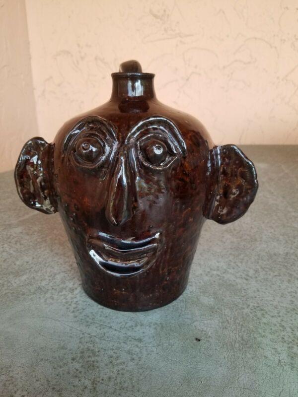 Carl Lockman Signed Folk Art Pottery Ugly Face Jug