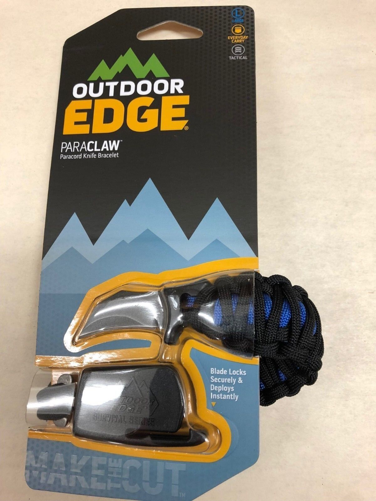 NEW Outdoor Edge Large Blue Para-Claw Paracord Knife Bracele
