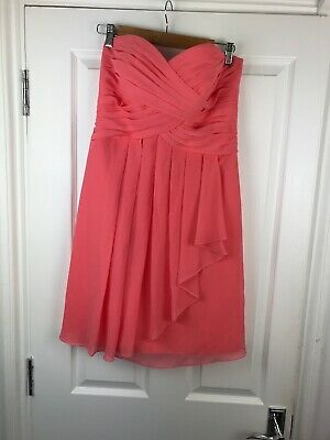 Peach Bustier (Davids Bridal Pink Peach Bustier Corset Dress Ruched Pleated 10 (US 8) Strapless)