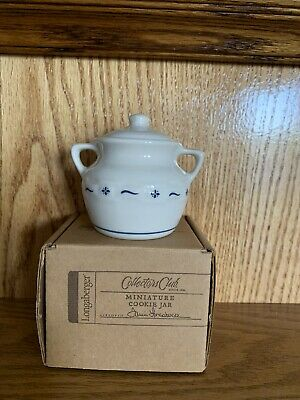 Longaberger Collectors Club Miniature Heritage Blue Woven Traditions Cookie Jar
