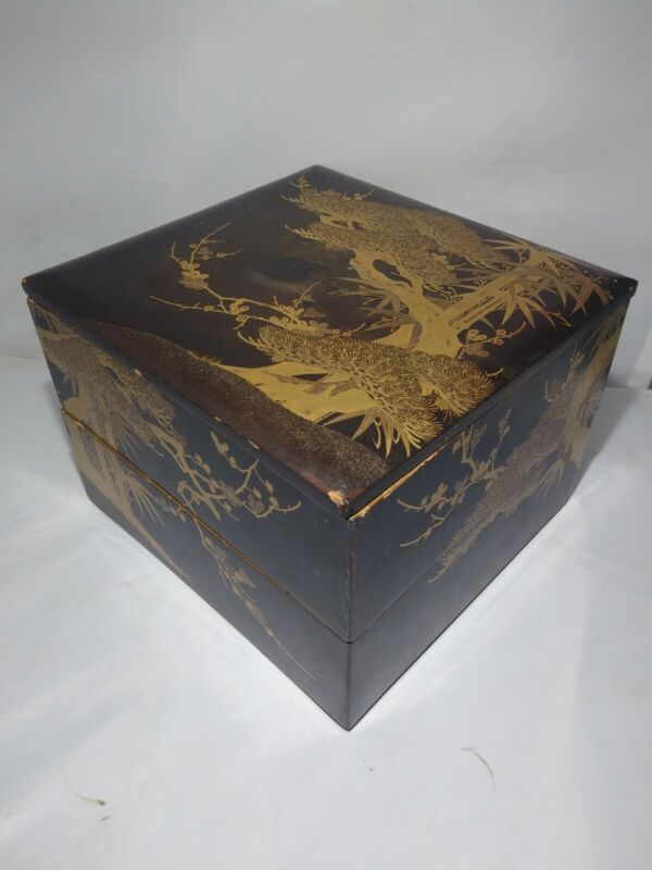 Antique Japanese Gold Lacquer Stacking Box