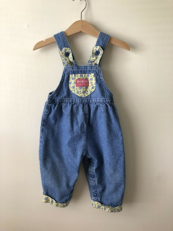 Vintage Oshkosh Denim Bubble Overalls Yellow And Blue Floral Accent Pocket 12m