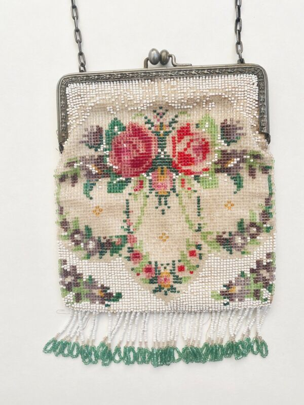 Vintage Antique Micro Beaded Roses Flower Purse Evening Handbag Fringe Colorful