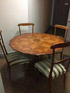 Antique Victorian inlaid dining table with 4 chairs