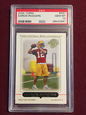 Aaron Rodgers 2005 Topps Rookie Card  RC PSA 10 Gem Mt Green Bay Packers for sale  Shipping to Canada