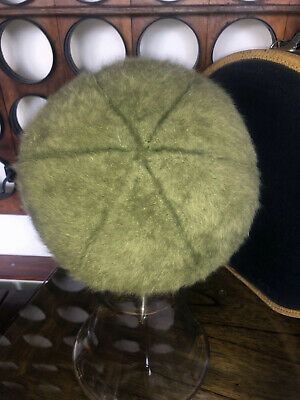 1950s Hats: Pillbox, Fascinator, Wedding, Sun Hats 1950s KANGOL Beret Tam Hat Green Angora - Fluffy - Vintage  $36.20 AT vintagedancer.com
